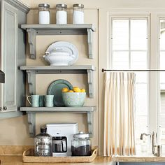"""kitchen with cabinets and shelves 