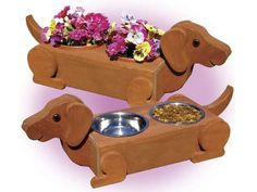 #Dachshund Dog Feeder / Planter Available in Brown or Black