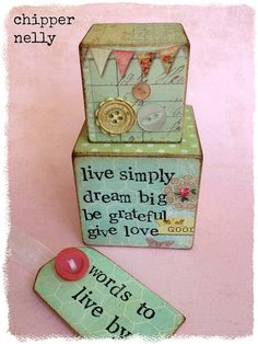 'Words to Live By' wooden blocks