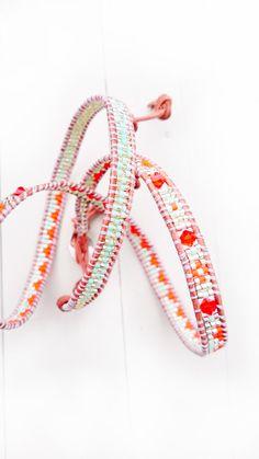 Leather Wrap Bracelet in Orange Silver and light Mint by malobi