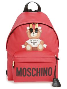large fantasy bear backpack by Moschino. Moschino's lovable mascot is all dolled up on a spacious, street-savvy backpack with plenty of playful attitude.