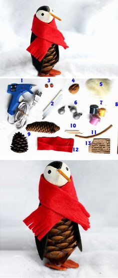 Pine Cone Penguins   20+ Easy to Make Christmas Ornaments