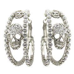 Butler  Wilson Swarovski Crystal Skulls on Double Hoop Earrings * I actually kind of like these