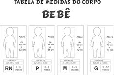 Resultado de imagem para tabela de medidas bebe