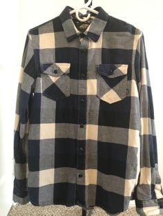 7be0b85d84 Vans Off The Wall Mens Box Long Sleeve Plaid Flannel Shirt Size Small   fashion