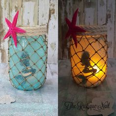 Mermaid Lantern,mermaid centerpiece,little mermaid,mermaid babyshower,mermaid decor,ariel,under the sea,nautical mermaid,mermaid jar by TheRustiqueNail on Etsy www.etsy.com/...
