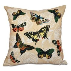 "August Grove Swan Valley Bird Watch Animal Print Outdoor Throw Pillow Size: 20"" H x 20"" W, Color: Gold"