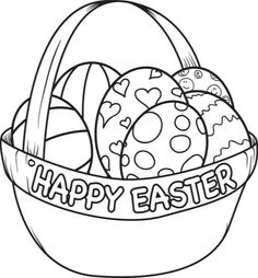 Happy Easter basket with eggs coloring page for kids. Description from pinterest.com. I searched for this on bing.com/images