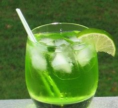 Green Dinosaur (1 oz. Vodka 1 oz. White Rum 1 oz. Gin 1 oz. Melon Liqueur 1 oz. Triple Sec 1 oz. Sweet & Sour Mix 1 oz. Sprite Lime wedge for garnish).