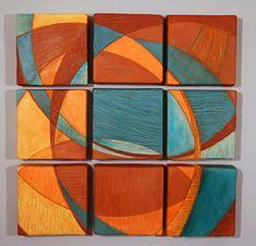 Nine Tiles: Liza Halvorsen: Ceramic Wall Art - Artful Home Ceramic Wall Art, Glass Wall Art, Tile Art, Panel Wall Art, Canvas Wall Art, Technique Photo, Orange Wall Art, Dutch Artists, Wall Sculptures