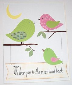 We Love You to the moon and back, mom, dad and baby bird-Childrens Art Decor Baby Room Nursery Art for Kids by vtdesigns, $14.00