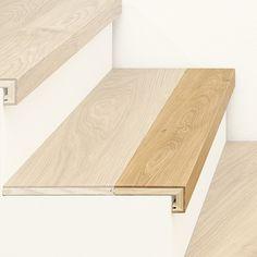 ArtNr. 38001 Treppenkantenprofil 3-Schicht mit Abschluss. Unser Treppen-Sortiment bietet viele exklusive und funktionelle Lösungen für alle Arten von Stiegen. In Manufakturarbeit fertigen wir hochwertige Treppenelemente ganz nach Ihren individuellen Vorstellungen. Zu den beliebtesten Produkten gehört das Treppenkantenprofil mit Abschluss, welches zur waagrechten Verkleidung von Stufen geeignet ist und aus Ihrem Original-Parkettboden nach Maß individuell gefertigt wird. #treppe #stiege… House Staircase, Staircase Railings, Staircase Design, Stairways, Laminate Stairs, Tile Stairs, Detail Architecture, Stair Renovation, Garage Organization