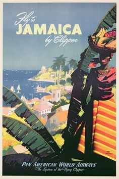 TW24 Vintage Caribbean Fly BOAC Classic Travel Poster Re-print A4