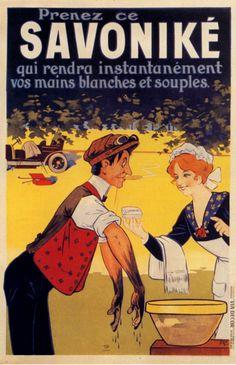 ¤ Savoniké, Eugène Ogé (1911) Affiche Litho en couleurs, 120x80 cm. 'Prenez ce Savoniké qui rendra instantanément vos mains blanches et souples.'