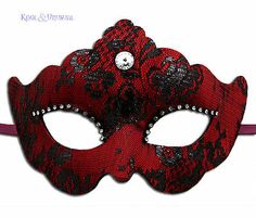 """Elegant RED & BLACK """"Lace Duchess"""" VENETIAN Masquerade Mask * Made in Italy"""