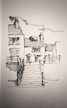 On the harbour. I drew this sketch in a Moleskine notebook whilst on a train,& was really pleased at the wavy lines!
