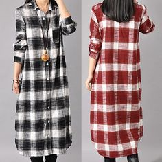 Specification: Sleeve Length:Long Sleeve Neckline:Turn Down Collar Color:Black,Red Style:Casual,Fashion Length:Mid-calf Pattern:Plaid Material:Polyester Season:Spring,Autumn,Winter Package included: