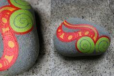 koru hand painted rock...Release...