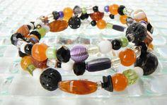 Orange Purple Bead Bracelet Black Green Bracelet by mscenna