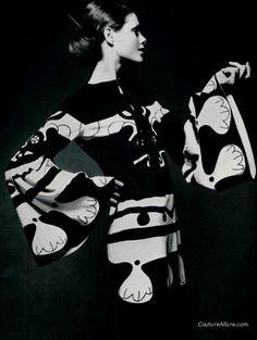 Model wearing a dress by Louis Feraud, print by Per Spook, 1970.