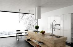 unusual wooden island with cook top and awesome grohe kitchen faucet design plus circular range hood