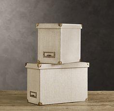 Organizing Product:  Elegant linen desktop file box by Restoration Hardware.  #organizing #filing #clutter