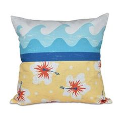 Surf, Sand and Sea Outdoor Throw Pillow