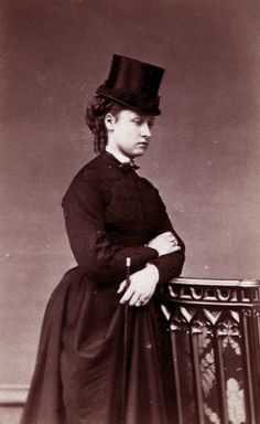 Princess Louise of Great Britain, later duchess of Argyll, wearing riding habits. Early 1870s.