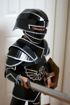 Cardboard Knight Costume. Gloucestershire Resource Centre http://www.grcltd.org/scrapstore/