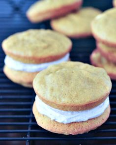Pumpkin Whoopie Pies with Ginger Cream - the warmly spiced flavors of fall in a fluffy handheld dessert. @spabettie