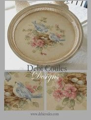 Vintage Bluebird and Roses Tray - Pre-printed Design Packet (Mailed)