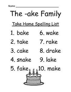 FREE The -ake Family Spelling {Word Work} Lists & Tests Adorable Cake Theme! This Spelling Unit has 15 pages. Some school districts call it Spelling, some call it Word Work! This packet has both versions! Differentiate your classroom, some students can have the 10 word list and some can have the 15 word list.Also terrific for mixed grade level classes! Your students will love it! The PowerPoint and Center Gameare available on TPT if you like this Freebie.
