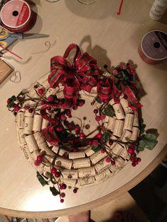 Holiday wine cork wreath