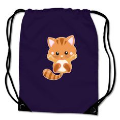 Turnbeutel mit dem Motiv Rote Katze. Kinder Turnbeutel BagBase® Rote Katze