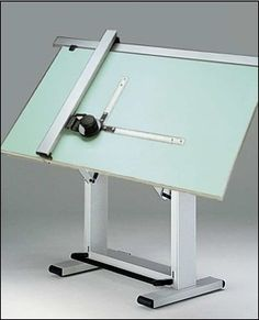Drafting tables Largely replaced by computer-aided drafting (CAD) systems. I loved drawing designs at the drafting table with my T-Square and triangles. This is like mine. It weighs a ton. Drawing Furniture, Drawing Desk, Drawing Board, Drawing Tables, Furniture Logo, Furniture Layout, Home Basketball Court, Dream Desk, Drafting Tools
