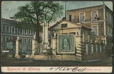 Front of postcard:  El Templete: Columbus Memorial Chapel (Havana, Cuba)  …with Cuba Scott #233 (issued 1905) Statue of Columbus tied on front with  30 Apr 1908 Santiago de Cuba cancellation.  Postage due mark (0' 10 T) and Barcelona, Spain 15 May 1908 arrival handstamp on back of card.