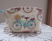 Bridesmaid Wedding Clutch Cosmetic Bag  Purse Spring Cruiser Floral Beach Flower Bike Made in USA - pinned by pin4etsy.com