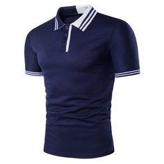 Mens Casual Simple Stripes Turn-down Collar Leisure Golf Shirt Summer Breathable Slim Tops Tees Polo T Shirts, Golf Shirts, Men Shirts, Georgia, Camisa Polo, Bleu Marine, Shirt Designs, Underwear, Men Casual
