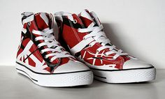 """Eddie Van Halen keeps the surprises coming. """"These classic high top style shoes are identical to the red-black-and-white striped design worn by Eddie onstage for over a decade. The Frankenstein, Fantasias Halloween, Eddie Van Halen, Sneaker Boots, Vans Sk8, Lanvin, Me Too Shoes, Outfit Of The Day, High Top Sneakers"""
