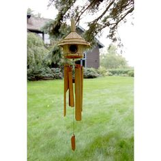 Thatched Roof Birdhouse Bamboo Chime