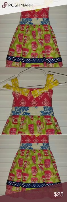 KPea 2T teatime bow knot apron dress EUC Too cute teatime dress! EUC! Only wore twice. I hate that my daughter no longer fits this:( Apron front and bow knot ties, plus adorable mix of patterns! KPea Dresses Casual
