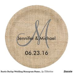 Rustic Burlap Wedding Monogram Names Date Paper Plate  sc 1 st  Pinterest & Rustic Pink Floral on Mint Green Burlap Wedding Paper Plate | Mint ...