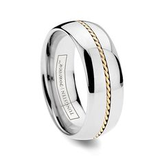 CORONA 6MM/8MM Dome Tungsten Ring with Hand Woven Gold Inlay