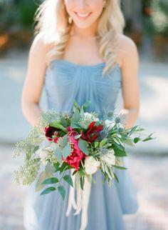 Beautiful bouquet: http://www.stylemepretty.com/2015/04/28/red-french-blue-al-fresco-estate-wedding/ | Photography: Justin DeMutiis - http://justindemutiisphotography.com/