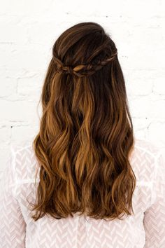 long hair braid crown half up half down | 3 Half Up, Half Down Hairstyles You Can DIY All Wedding ...