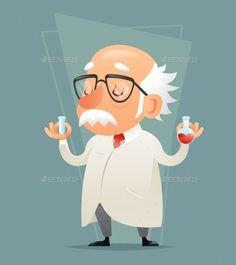 Old Scientist Test-tube Icon Retro Cartoon Design Mobile game Vector Illustration