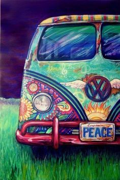 The Happy Hippie Place painting of Volkswagen bus with hippie-style art