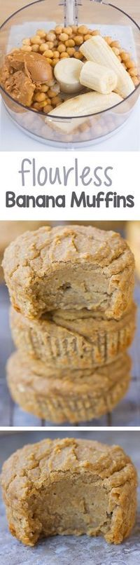 Simple vegan flourless muffins, less than 120 calories each, and easy to make!