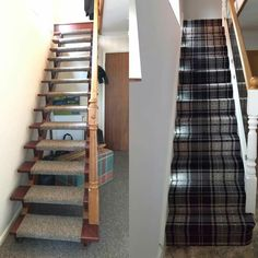 Our hallway before and after. Glass and oak staircase with lights up treads and dark tartan. Perfect hallway. Very bright and airy