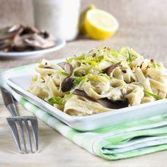 #vegan fettuccine alfredo with leeks and portobello mushrooms #recipe